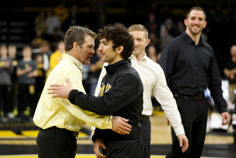 Iowa's Vince Turk during senior day activities Sunday, February 23, 2020 at Carver-Hawkeye Arena. (Brian Ray/hawkeyesports.com)