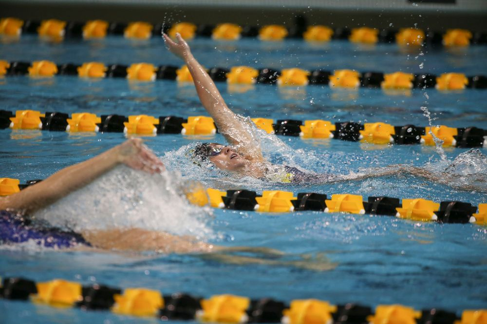 Iowa's Kennedy Gilbertson swims the 200-yard backstroke during the Iowa swimming and diving meet vs Notre Dame and Illinois on Saturday, January 11, 2020 at the Campus Recreation and Wellness Center. (Lily Smith/hawkeyesports.com)