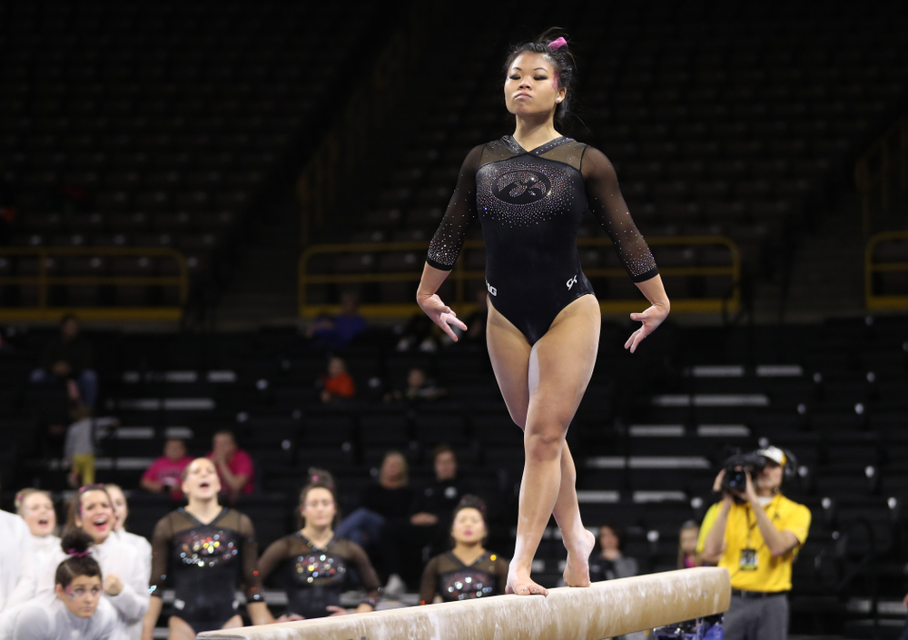 Iowa's Misty-Jade Carlson competes on the beam during their meet against the Minnesota Golden Gophers Saturday, January 19, 2019 at Carver-Hawkeye Arena. (Brian Ray/hawkeyesports.com)