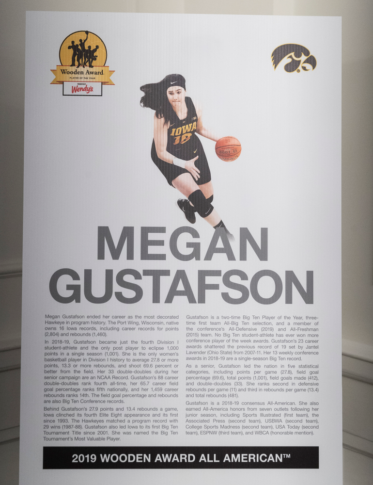 Iowa Hawkeyes forward Megan Gustafson (10) during the Wooden Award DukeÕs Dinner Thursday, April 11, 2019 at the LA Athletic Club. (Brian Ray/hawkeyesports.com)