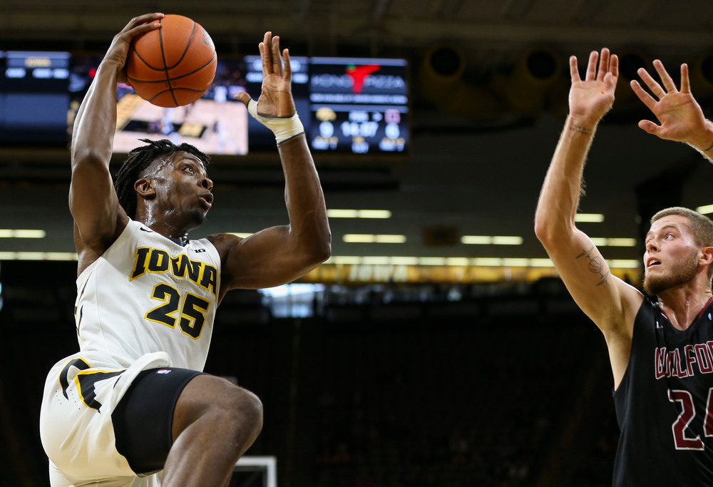 Iowa Hawkeyes forward Tyler Cook (25) goes up for a shot during a game against Guilford College at Carver-Hawkeye Arena on November 4, 2018. (Tork Mason/hawkeyesports.com)