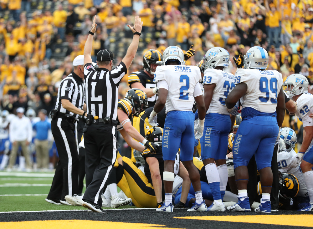 The Iowa Hawkeyes score against Middle Tennessee State Saturday, September 28, 2019 at Kinnick Stadium. (Max Allen/hawkeyesports.com)