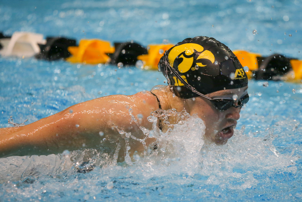 Sage Ohlensehlen during Iowa women's swimming and diving vs Rutgers on Friday, November 8, 2019 at the Campus Wellness and Recreation Center. (Lily Smith/hawkeyesports.com)