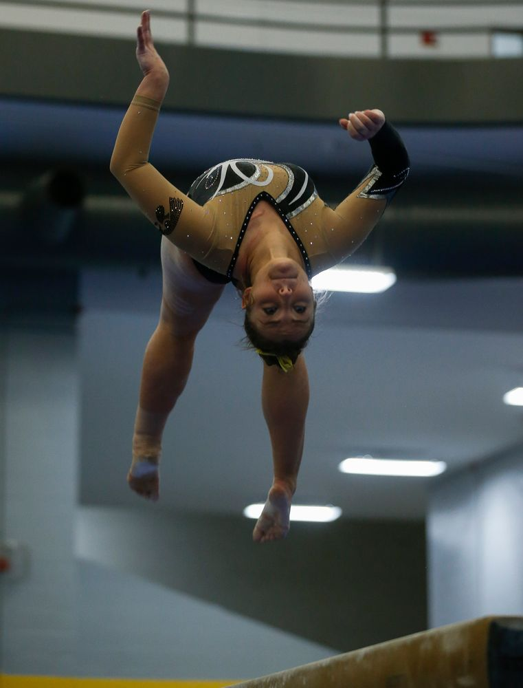 Breanna Fitzke competes on the balance beam during the Black and Gold Intrasquad meet at the Field House on 12/2/17. (Tork Mason/hawkeyesports.com)