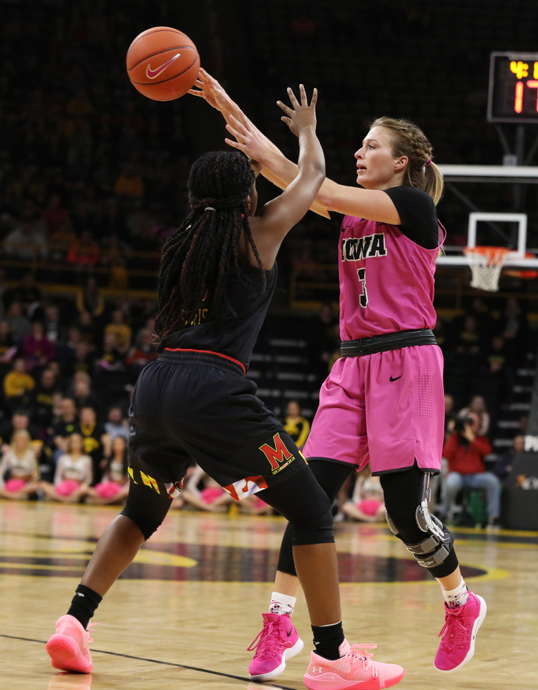 Iowa Hawkeyes guard Makenzie Meyer (3) against the seventh ranked Maryland Terrapins Sunday, February 17, 2019 at Carver-Hawkeye Arena. (Brian Ray/hawkeyesports.com)