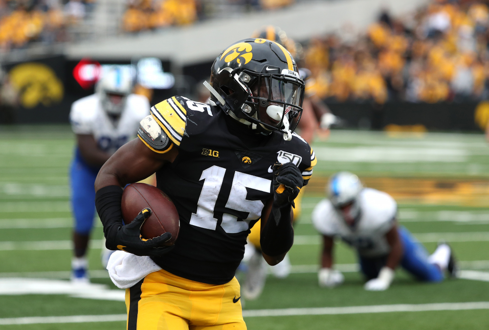 Iowa Hawkeyes running back Tyler Goodson (15) against Middle Tennessee State Saturday, September 28, 2019 at Kinnick Stadium. (Brian Ray/hawkeyesports.com)