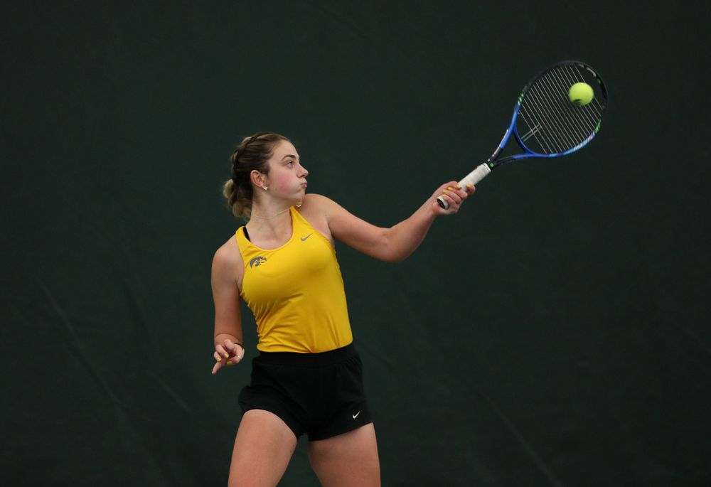 Iowa's Sophie Clark against the Iowa State Cyclones Friday, February 8, 2019 at the Hawkeye Tennis and Recreation Complex. (Brian Ray/hawkeyesports.com)