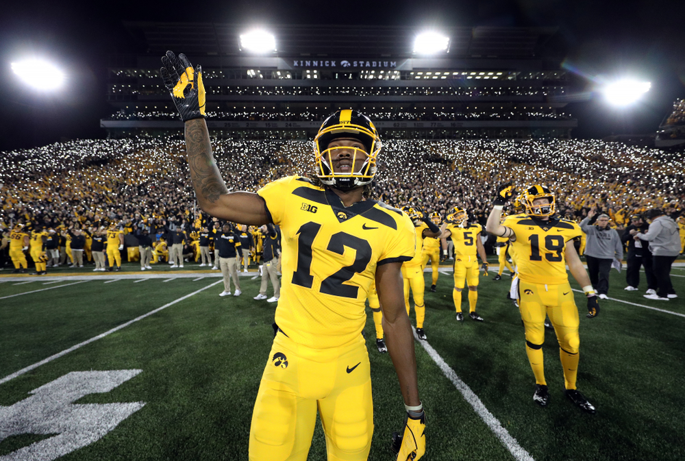 Iowa Hawkeyes wide receiver Brandon Smith (12) waves to the Stead Family ChildrenÕs Hospital against the Penn State Nittany Lions Saturday, October 12, 2019 at Kinnick Stadium. (Brian Ray/hawkeyesports.com)