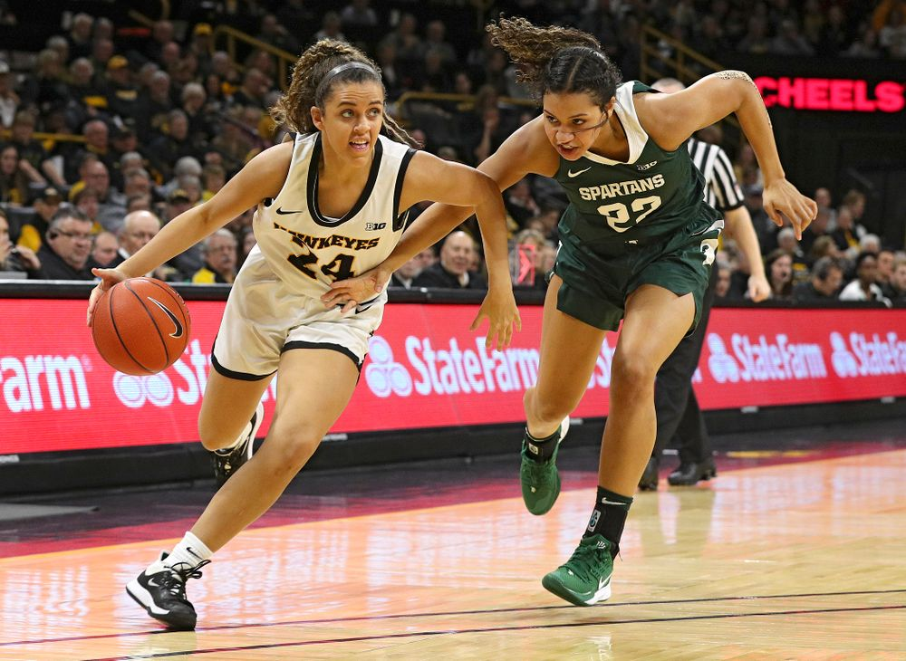 Iowa Hawkeyes guard Gabbie Marshall (24) drives with the ball during the second quarter of their game at Carver-Hawkeye Arena in Iowa City on Sunday, January 26, 2020. (Stephen Mally/hawkeyesports.com)