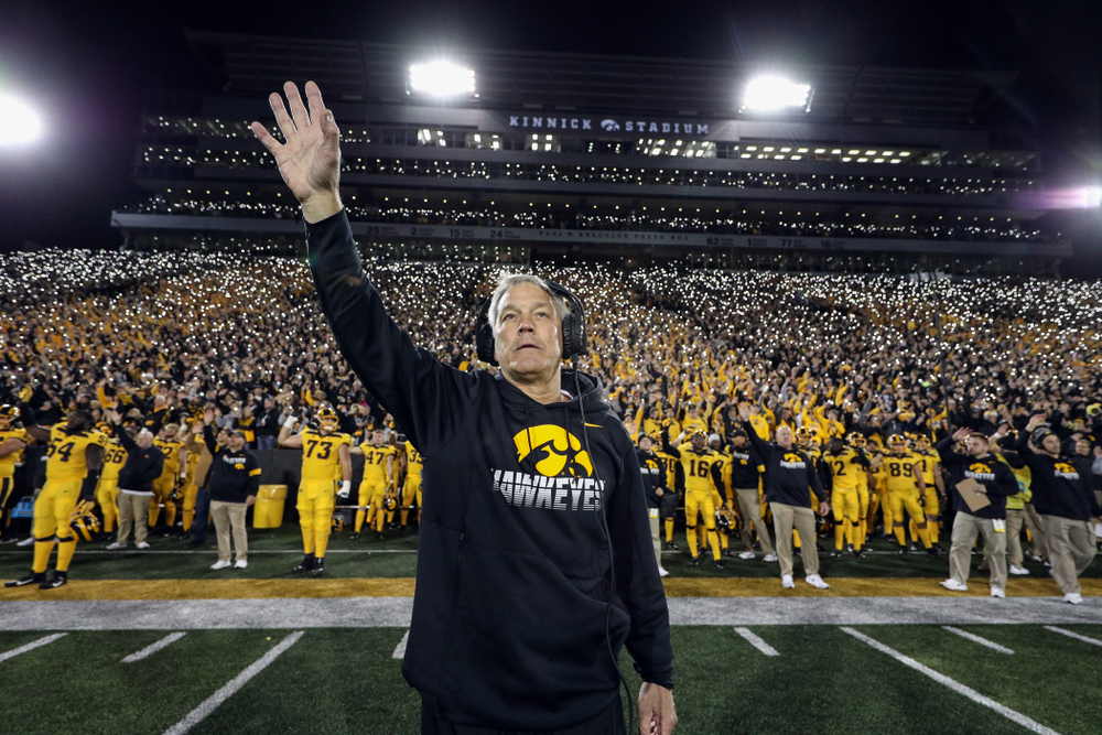Iowa Hawkeyes head coach Kirk Ferentz waves to the kids in the Stead Family ChildrenÕs Hospital at the end of the first quarter against the Penn State Nittany Lions Saturday, October 12, 2019 at Kinnick Stadium. (Brian Ray/hawkeyesports.com)