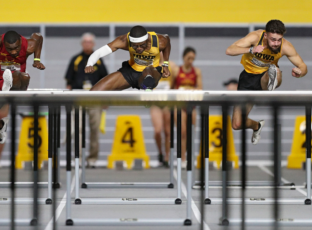 Iowa's Jaylan McConico runs the men's 60 meter hurdles event during the Jimmy Grant Invitational at the Recreation Building in Iowa City on Saturday, December 14, 2019. (Stephen Mally/hawkeyesports.com)