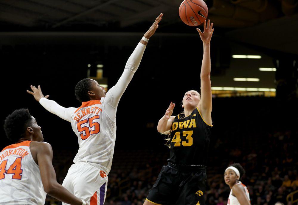 Iowa Hawkeyes forward Amanda Ollinger (43) against Clemson Wednesday, December 4, 2019 at Carver-Hawkeye Arena. (Brian Ray/hawkeyesports.com)