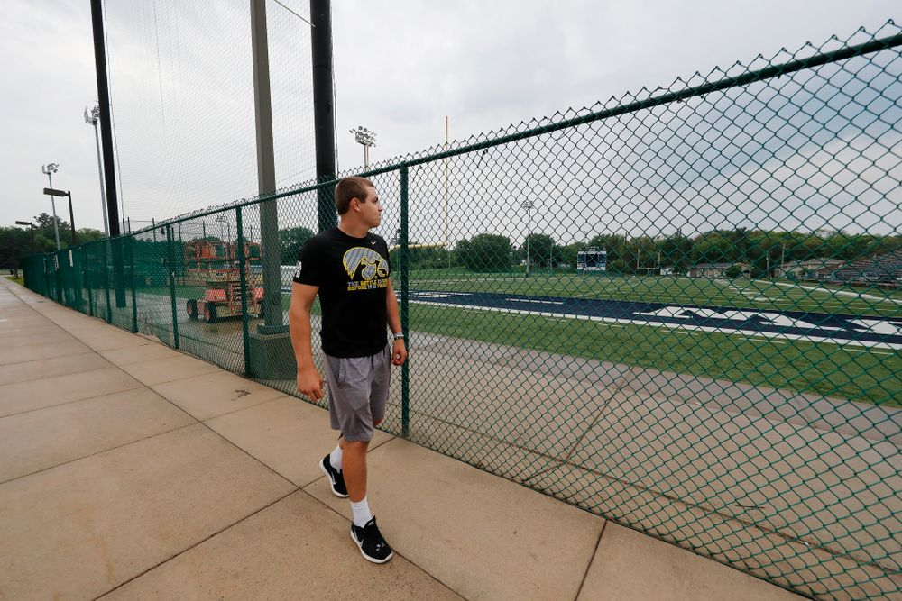 Iowa Hawkeyes quarterback Nathan Stanley (4) talks about his memories of playing high school football on the field at the University of WisconsinÐStout Wednesday, May 30, 2018 in Menomonie, Wisc. (Brian Ray/hawkeyesports.com)