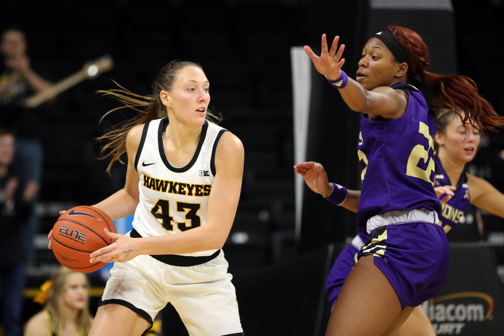 Iowa Hawkeyes forward Amanda Ollinger (43) against North Alabama Thursday, November 14, 2019 at Carver-Hawkeye Arena. (Brian Ray/hawkeyesports.com)