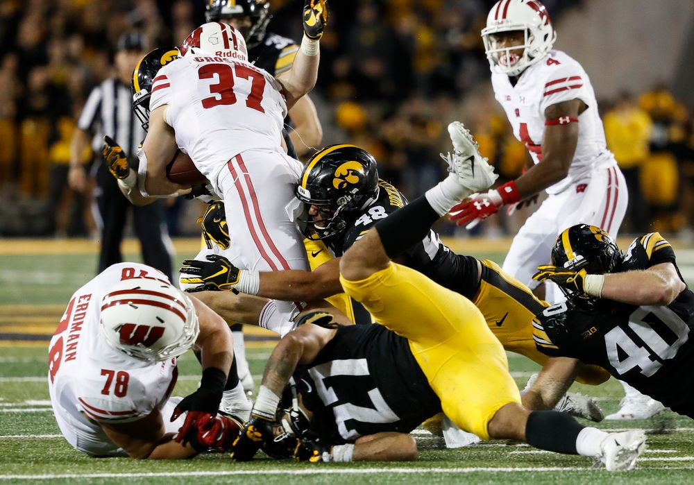 Iowa Hawkeyes linebacker Jack Hockaday (48) makes a tackle during a game against Wisconsin at Kinnick Stadium on September 22, 2018. (Tork Mason/hawkeyesports.com)