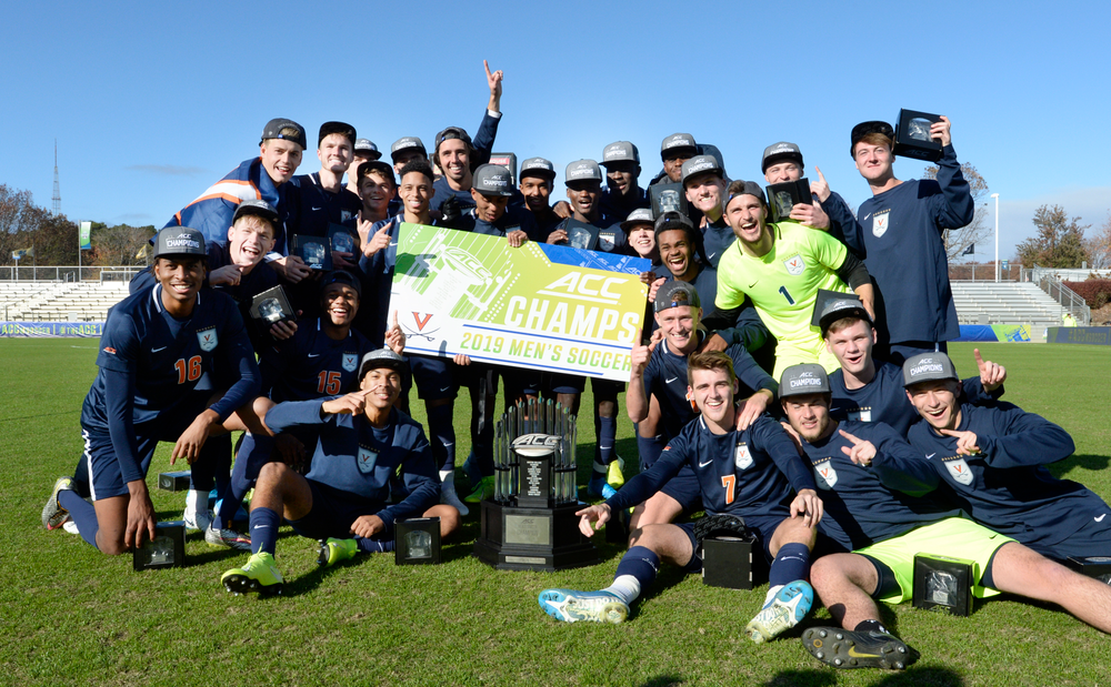 Virginia is named the 2019 ACC Men?s Soccer Champions at WakeMed Soccer Park in Cary, N.C., Sunday Nov. 17, 2019. (Photo by Sara D. Davis, the ACC)