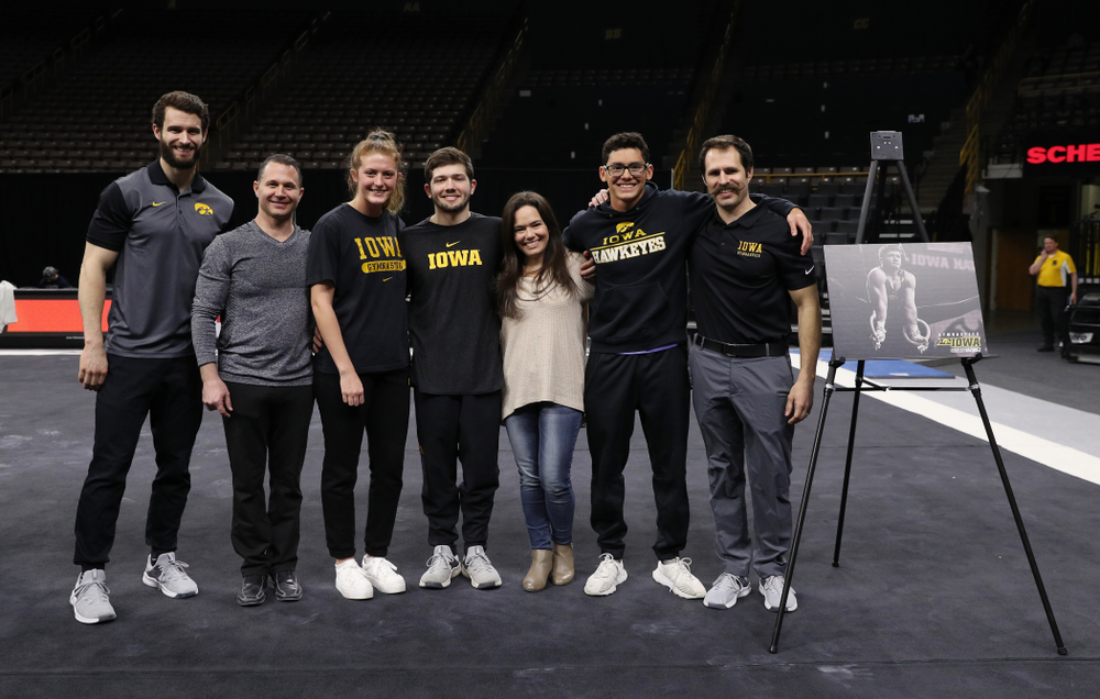 Iowa Men's Gymnast Rogelio Vazquez and his family during senior day ceremonies following their meet against the Ohio State Buckeyes  Saturday, March 16, 2019 at Carver-Hawkeye Arena.  (Brian Ray/hawkeyesports.com)
