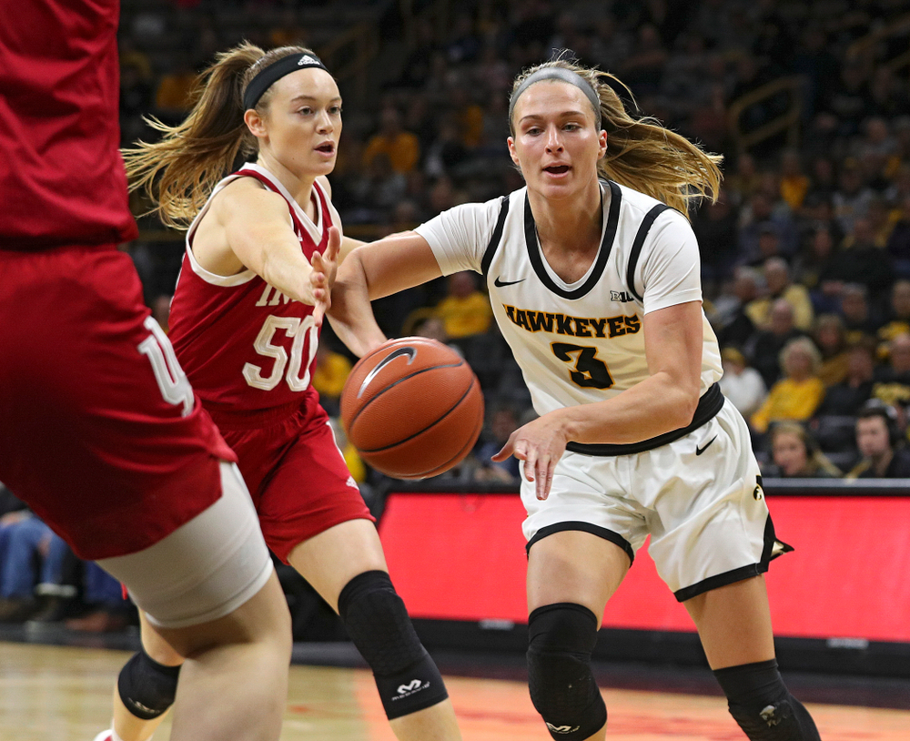 Iowa Hawkeyes guard Makenzie Meyer (3) passes the ball during the first quarter of their game at Carver-Hawkeye Arena in Iowa City on Sunday, January 12, 2020. (Stephen Mally/hawkeyesports.com)