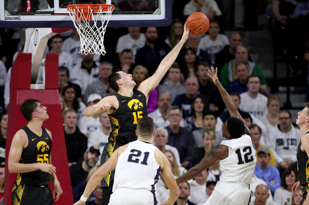 Iowa Hawkeyes forward Ryan Kriener (15) against Penn State Saturday, January 4, 2020 at the Palestra in Philadelphia. (Brian Ray/hawkeyesports.com)