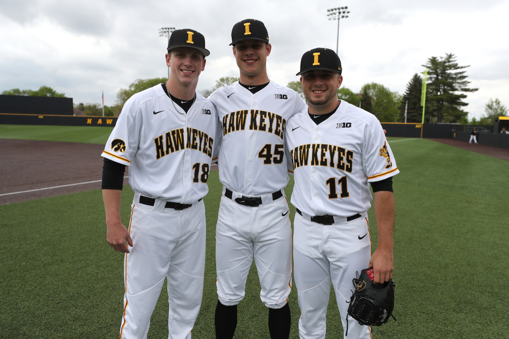 Iowa Hawkeyes Shane Ritter (18), Kyle Shimp (45), and Cole McDonald (11) before their  game against Michigan State Sunday, May 12, 2019 at Duane Banks Field. (Brian Ray/hawkeyesports.com)