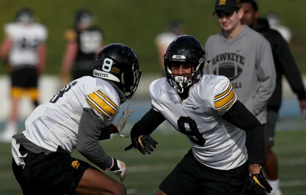 Iowa Hawkeyes defensive back Geno Stone (9) runs a drill during Holiday Bowl Practice No. 3  Tuesday, December 24, 2019 at San Diego Mesa College. (Brian Ray/hawkeyesports.com)