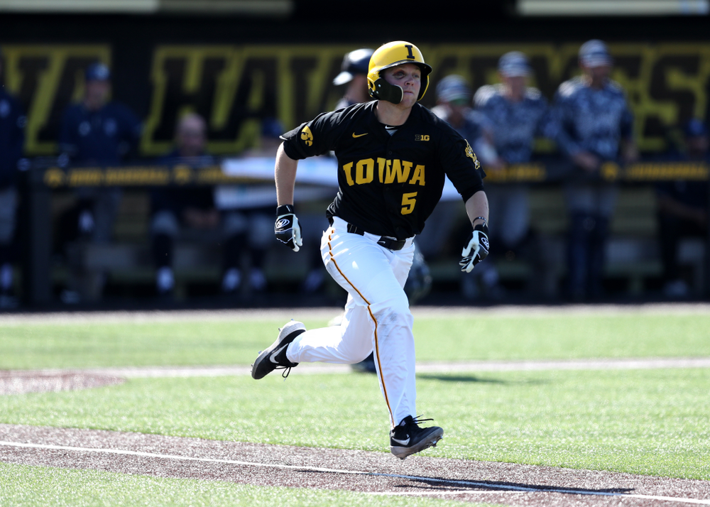 Iowa Hawkeyes Zeb Adreon (5) during game two against UC Irvine Saturday, May 4, 2019 at Duane Banks Field. (Brian Ray/hawkeyesports.com)