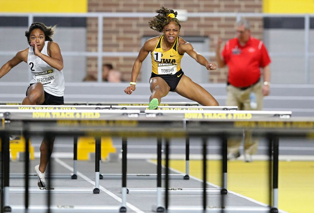 Iowa's Tionna Tobias runs in the women's 60 meter hurdles prelim event during the Hawkeye Invitational at the Recreation Building in Iowa City on Saturday, January 11, 2020. (Stephen Mally/hawkeyesports.com)