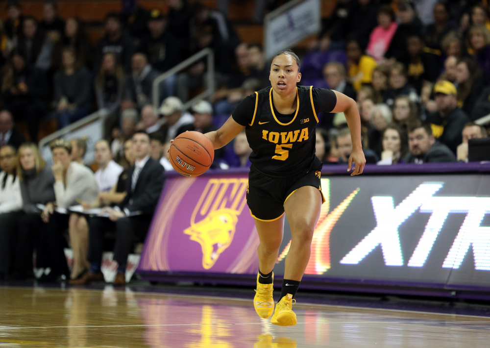 Iowa Hawkeyes guard Alexis Sevillian (5) against Northern Iowa Sunday, November 17, 2019 at the McLeod Center. (Brian Ray/hawkeyesports.com)