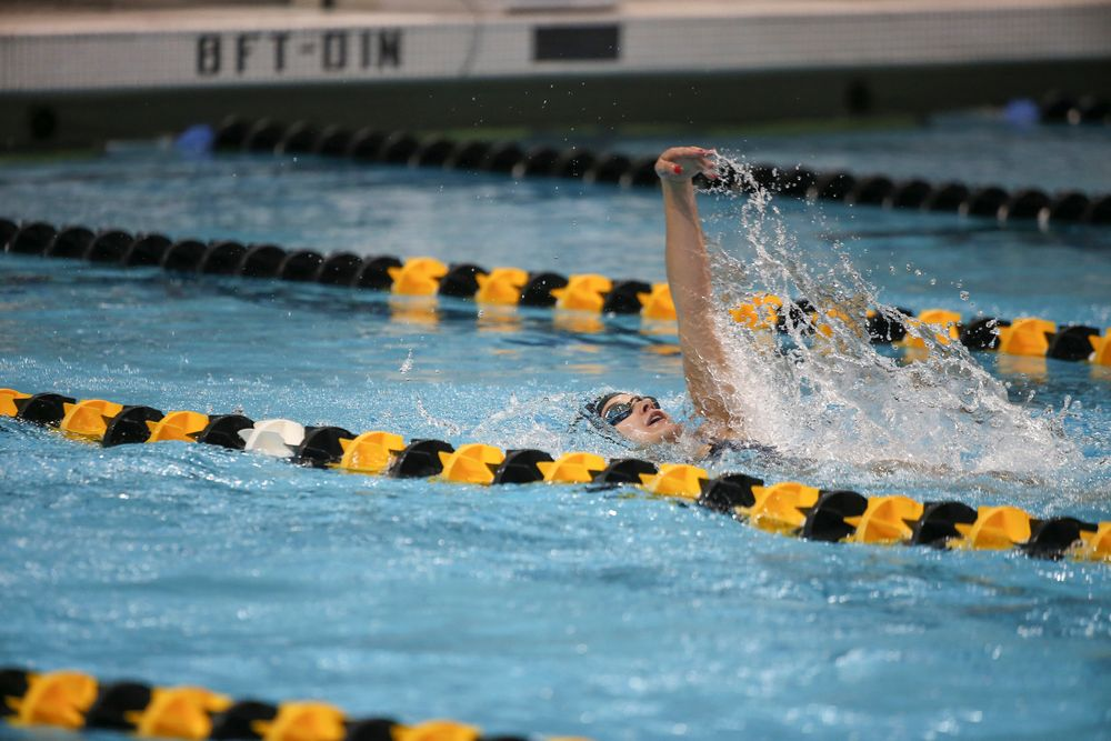 Iowa's Helen Blumenau swims the 200-yard backstroke during the Iowa swimming and diving meet vs Notre Dame and Illinois on Saturday, January 11, 2020 at the Campus Recreation and Wellness Center. (Lily Smith/hawkeyesports.com)