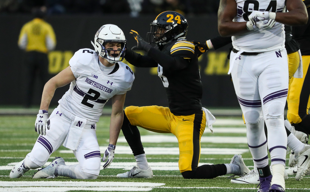 Iowa Hawkeyes defensive back Matt Hankins (8) reacts after breaking up a pass during a game against Northwestern at Kinnick Stadium on November 10, 2018. (Tork Mason/hawkeyesports.com)