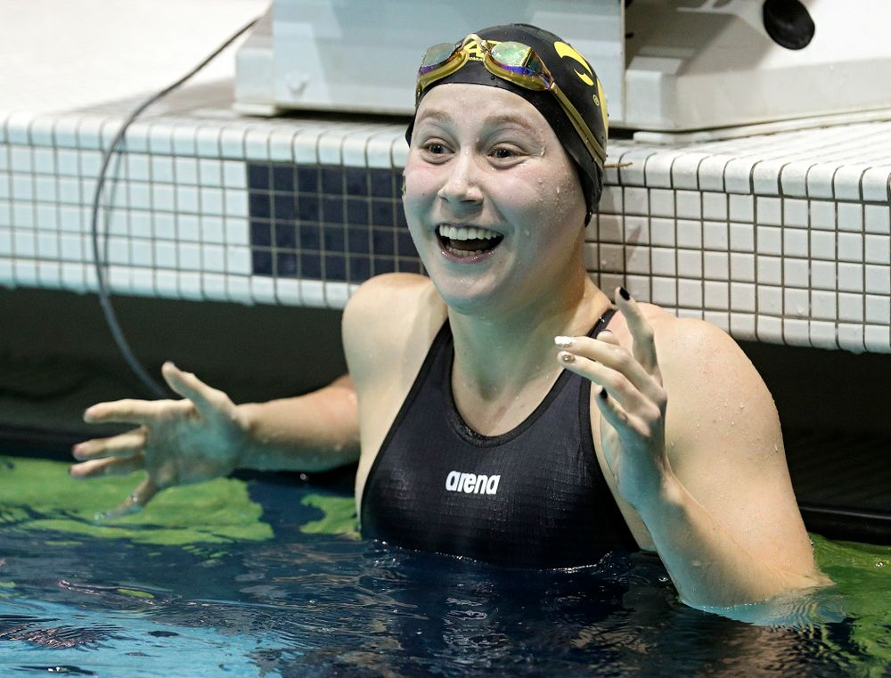 Iowa's Aleksandra Olesiak reacts after setting a career-best time in the women's 200 yard breaststroke C final event during the 2020 Women's Big Ten Swimming and Diving Championships at the Campus Recreation and Wellness Center in Iowa City on Saturday, February 22, 2020. (Stephen Mally/hawkeyesports.com)