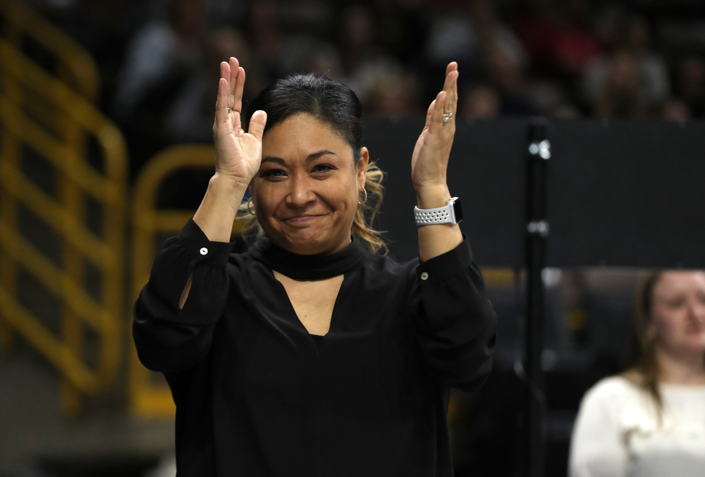 Iowa's head coach Larissa Libby during their meet against the Rutgers Scarlet Knights Saturday, January 26, 2019 at Carver-Hawkeye Arena. (Brian Ray/hawkeyesports.com)