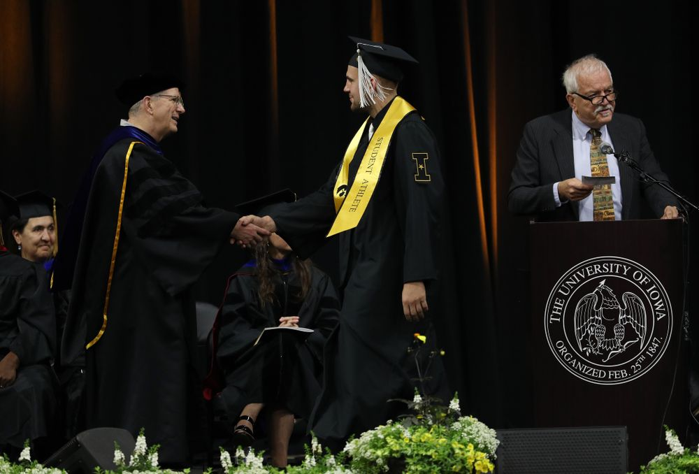 Hawkeye FootballÕs Nate Wieting during the College of Liberal Arts and Sciences spring commencement Saturday, May 11, 2019 at Carver-Hawkeye Arena. (Brian Ray/hawkeyesports.com)