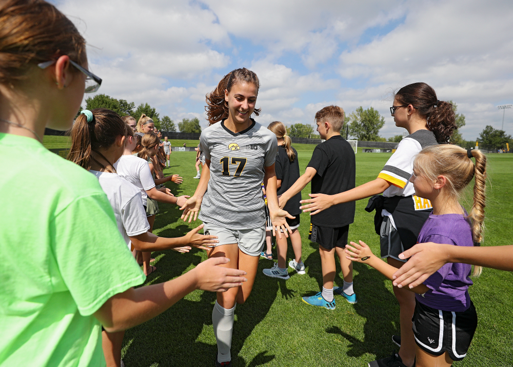 Iowa defender Hannah Drkulec (17) takes the field for their match at the Iowa Soccer Complex in Iowa City on Sunday, Sep 1, 2019. (Stephen Mally/hawkeyesports.com)