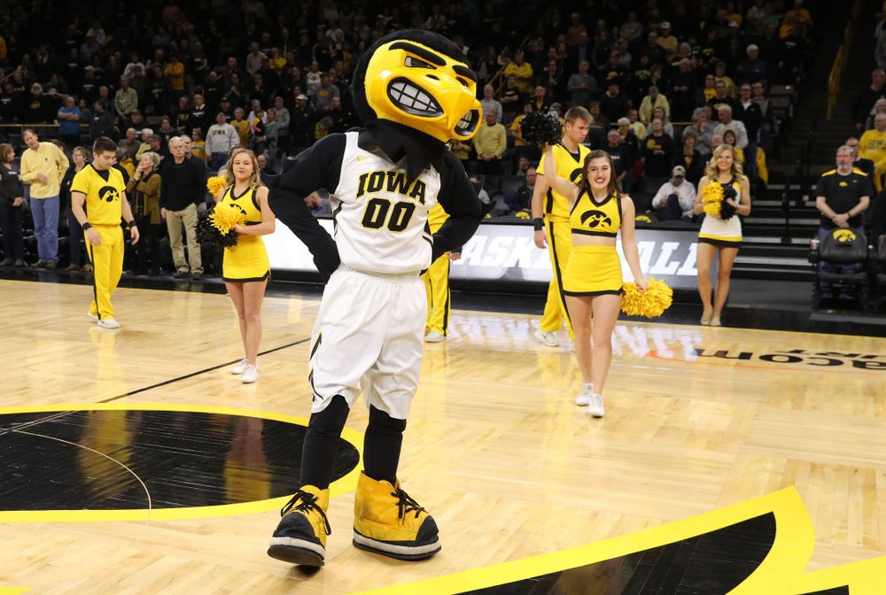 Herky The Hawk against the Rutgers Scarlet Knights Wednesday, January 23, 2019 at Carver-Hawkeye Arena. (Brian Ray/hawkeyesports.com)