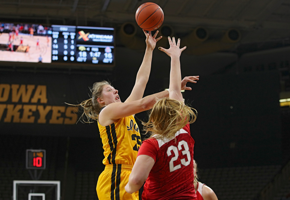 Iowa Hawkeyes forward Monika Czinano (25) puts up a shot during the first quarter of their game at Carver-Hawkeye Arena in Iowa City on Thursday, January 23, 2020. (Stephen Mally/hawkeyesports.com)