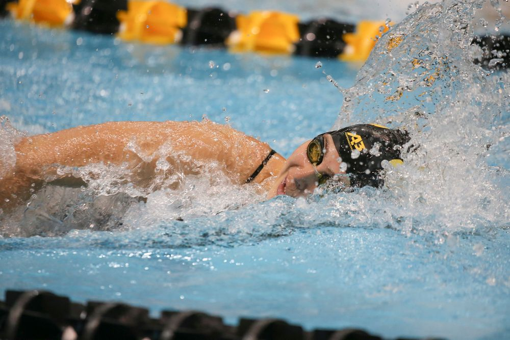 Iowa's Maddie Ziegert swims the 100-yard freestyle during the Iowa swimming and diving meet vs Notre Dame and Illinois on Saturday, January 11, 2020 at the Campus Recreation and Wellness Center. (Lily Smith/hawkeyesports.com)