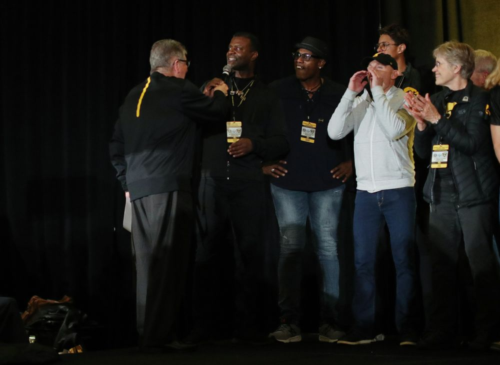 Merton Hanks and other letter winners are introduced during the Holiday Bowl Hawkeye Huddle Thursday, December 26, 2019 at the Hilton in downtown San Diego. (Brian Ray/hawkeyesports.com)