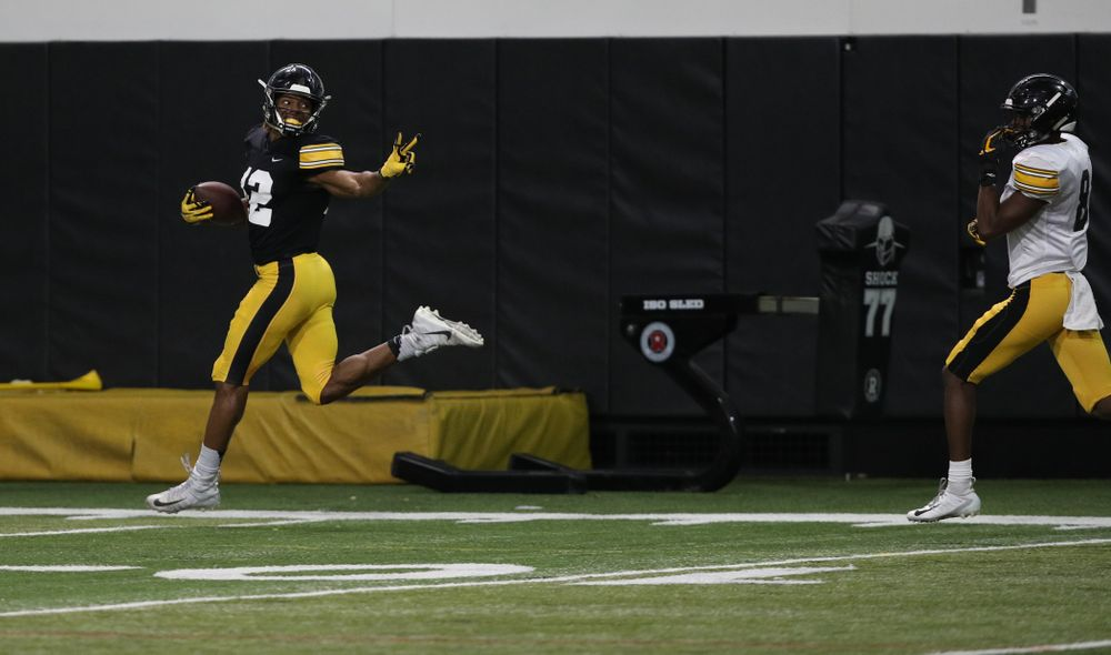 Iowa Hawkeyes wide receiver Brandon Smith (12) during preparation for the 2019 Outback Bowl Wednesday, December 19, 2018 at the Hansen Football Performance Center. (Brian Ray/hawkeyesports.com)