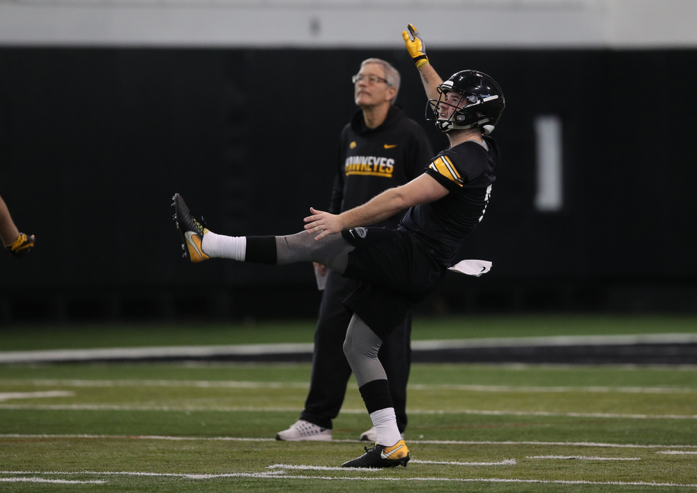 Iowa Hawkeyes punter Colten Rastetter (7) during preparation for the 2019 Outback Bowl Tuesday, December 18, 2018 at the Hansen Football Performance Center. (Brian Ray/hawkeyesports.com)