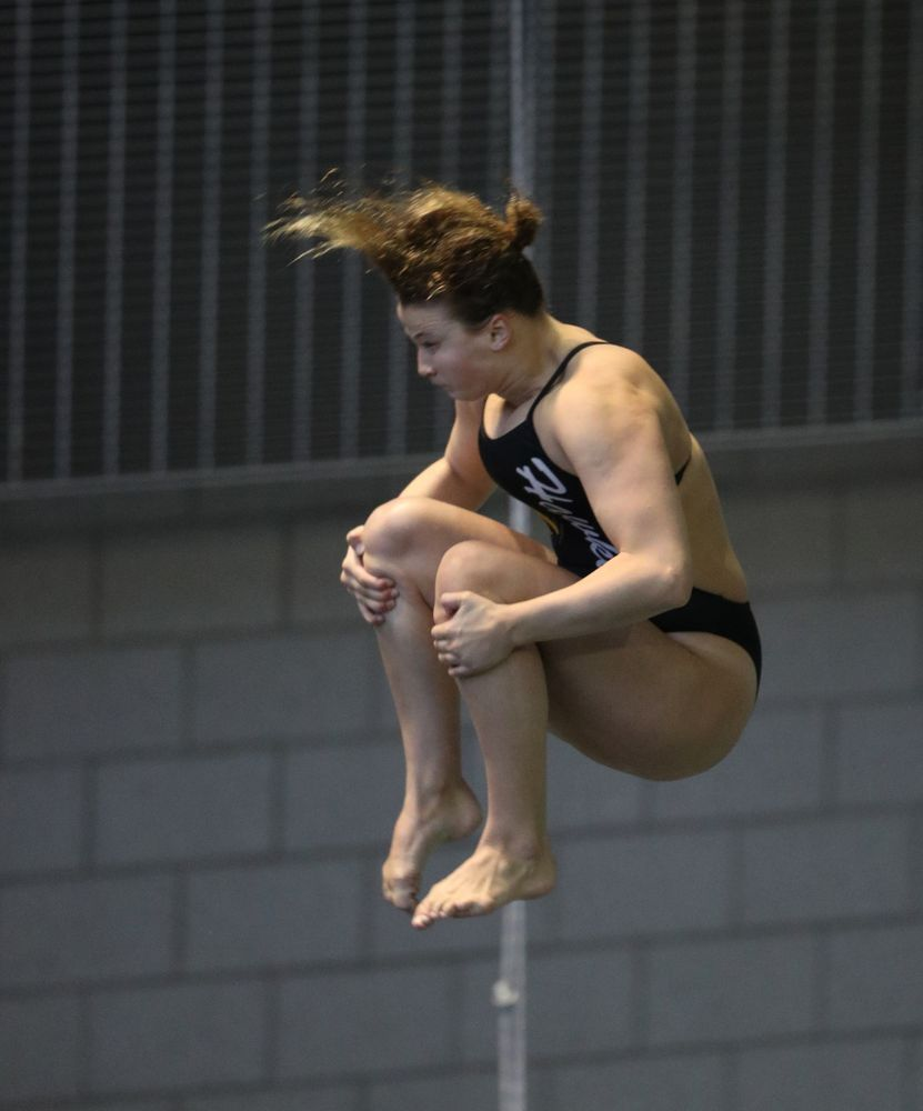 Iowa's Claire Park competes on the 3 meter springboard during a double dual against Wisconsin and Northwestern Saturday, January 19, 2019 at the Campus Recreation and Wellness Center. (Brian Ray/hawkeyesports.com)