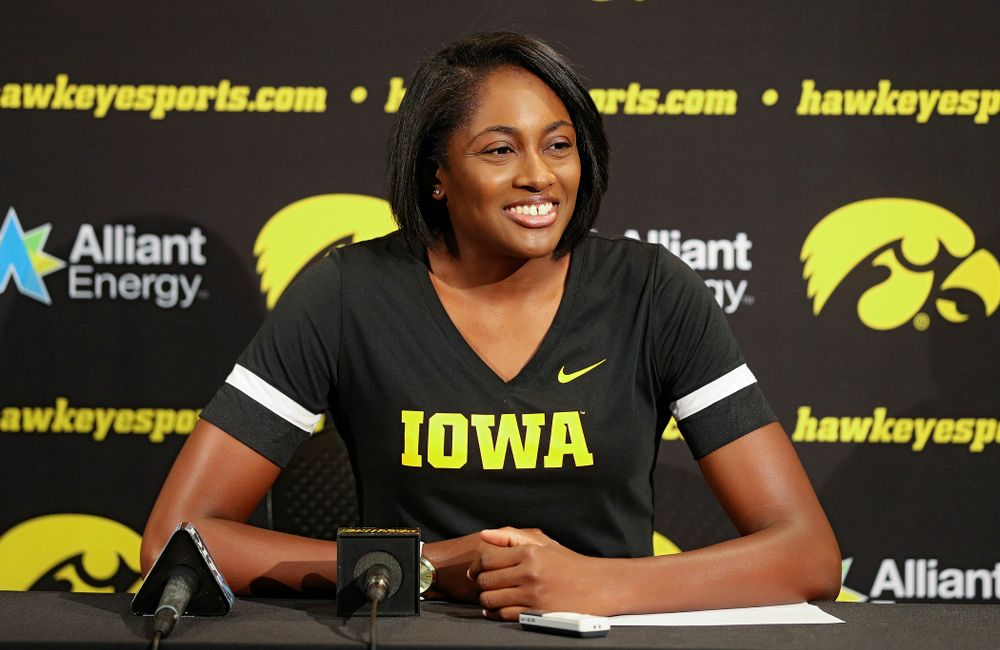 Iowa interim head coach Vicki Brown answers questions during Iowa Volleyball's Media Day at Carver-Hawkeye Arena in Iowa City on Friday, Aug 23, 2019. (Stephen Mally/hawkeyesports.com)