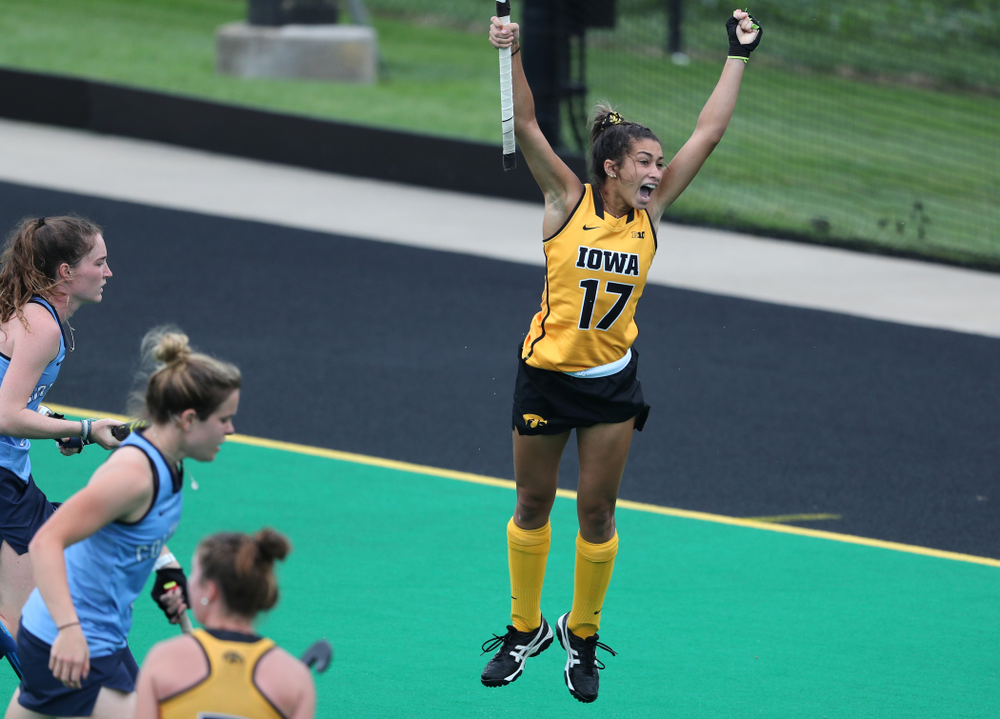 Iowa Hawkeyes forward Ciara Smith (17) celebrates a goal against Columbia Sunday, September 8, 2019 at Grant Field. (Brian Ray/hawkeyesports.com)