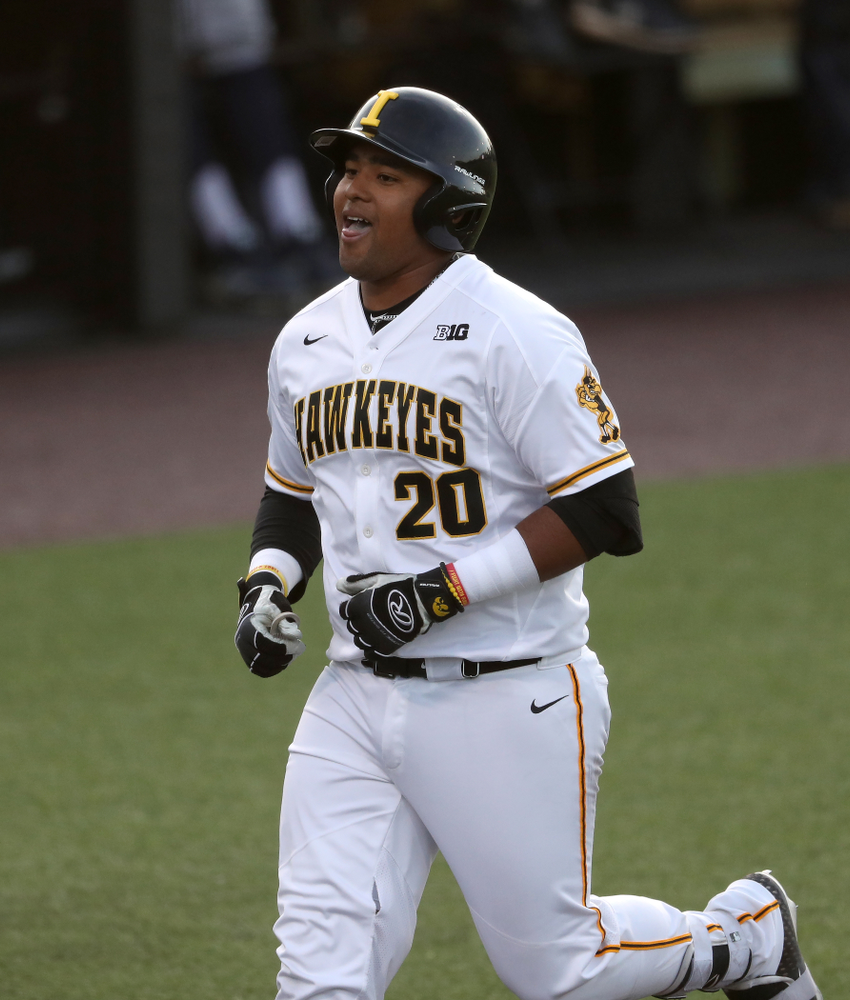 Iowa Hawkeyes Izaya Fullard (20) hits a home run during game one against UC Irvine Friday, May 3, 2019 at Duane Banks Field. (Brian Ray/hawkeyesports.com)