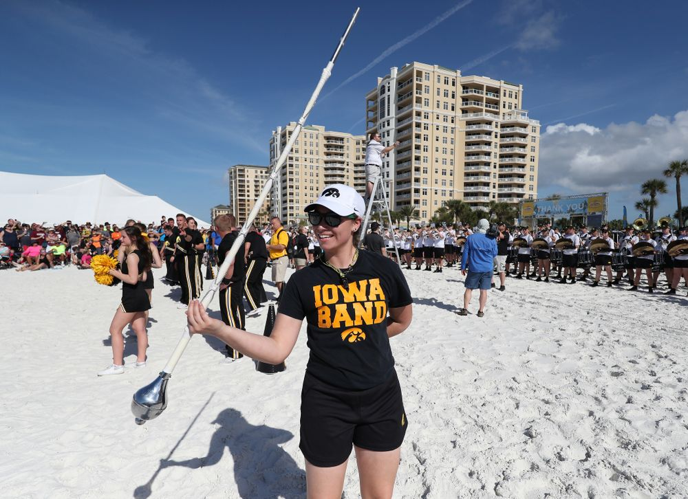 Hawkeye Marching Band Drum Major Analisa Iole during the Outback Bowl Beach Day Sunday, December 30, 2018 at Clearwater Beach. (Brian Ray/hawkeyesports.com)
