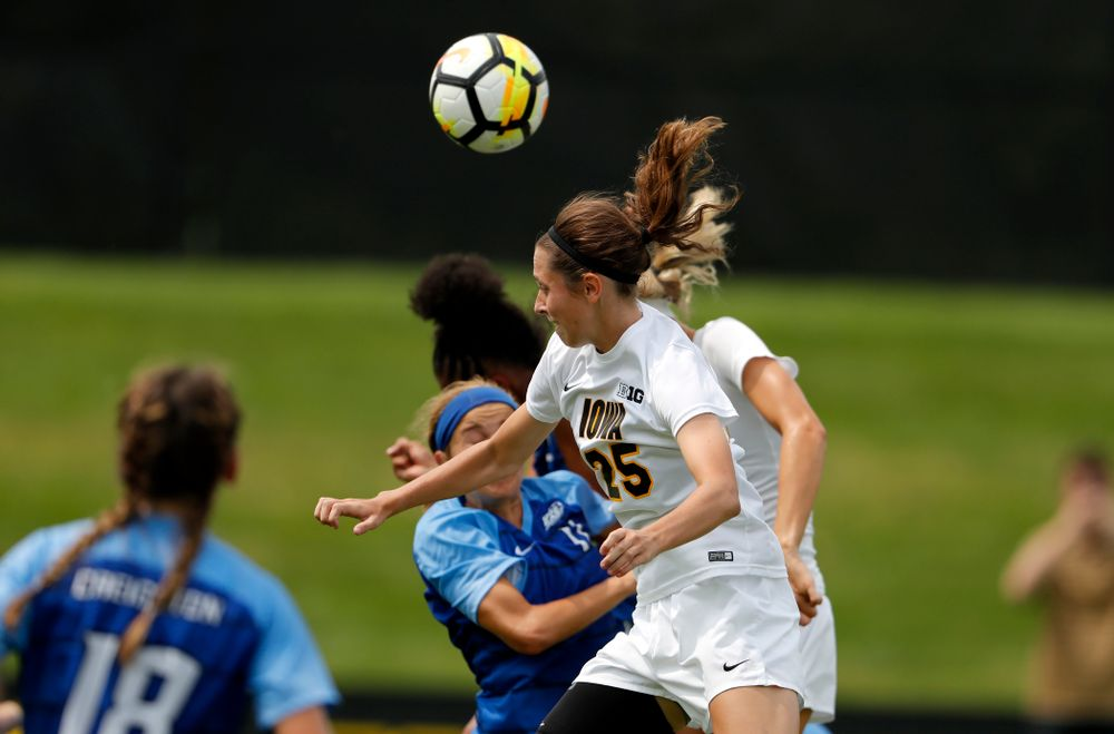 Iowa Hawkeyes Josie Durr (25) against the Creighton Bluejays  Sunday, August 19, 2018 at the Iowa Soccer Complex. (Brian Ray/hawkeyesports.com)