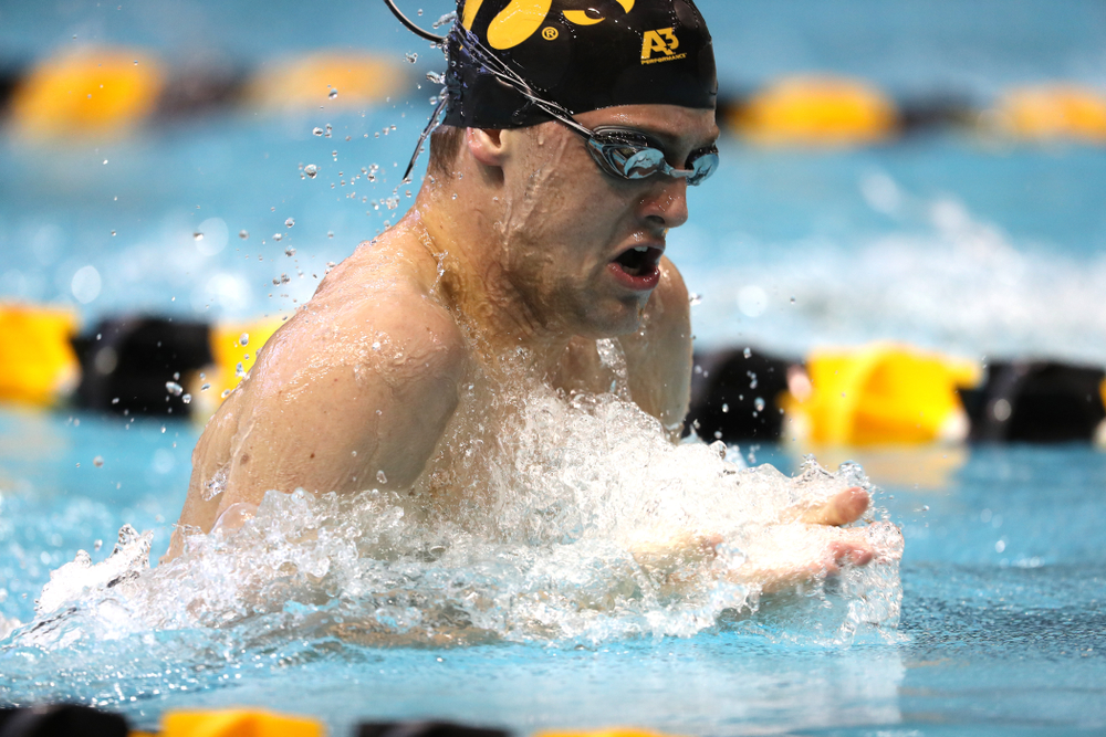 Iowa's Caleb Babb swims the 100 yard breaststroke during a double dual against Wisconsin and Northwestern Saturday, January 19, 2019 at the Campus Recreation and Wellness Center. (Brian Ray/hawkeyesports.com)