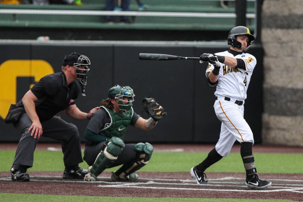 Iowa infielder Mitchell Boe  during baseball vs Michigan State game 3 at Duane Banks Field on Sunday, May 12, 2019. (Lily Smith/hawkeyesports.com)