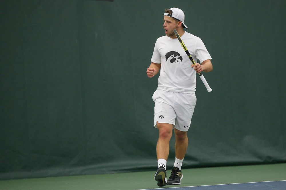 Iowa's Will Davies celebrates a point during the Iowa men's tennis meet vs Nebraska on Sunday, March 1, 2020 at the Hawkeye Tennis and Recreation Complex. (Lily Smith/hawkeyesports.com)