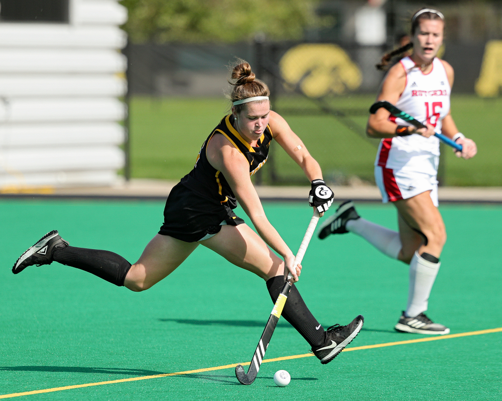 Iowa's Meghan Conroy (5) passes during the first quarter of their match at Grant Field in Iowa City on Friday, Oct 4, 2019. (Stephen Mally/hawkeyesports.com)